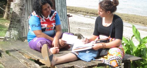 An ASU student interviews a Fiji woman for the Global Ethnohydrology Project