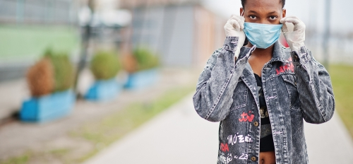 African American woman with COVID-19 mask