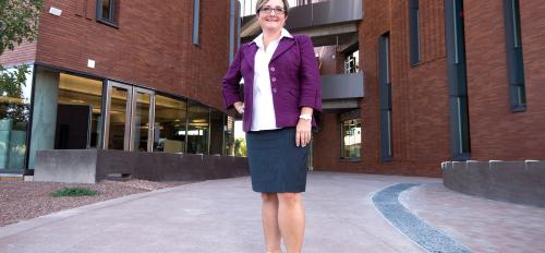 W. P. Carey School Dean Amy Hillman in front of McCord Hall