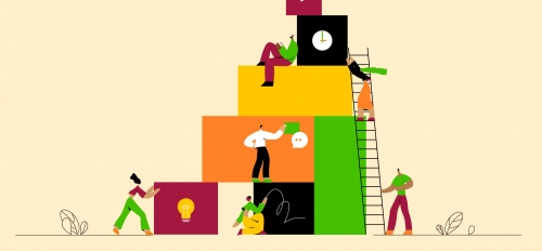 Illustration of people building a structure with various boxes with images on them