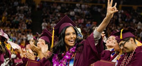 A student celebrates at the 2019 Hispanic Convocation