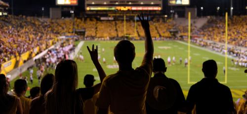 silhouette of crowd at football game