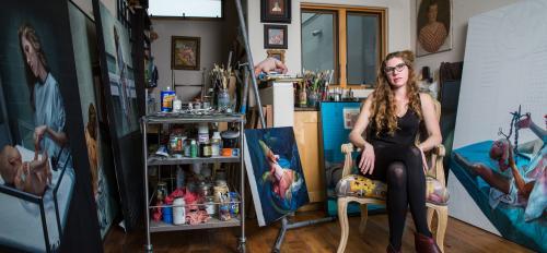 woman sitting in art studio