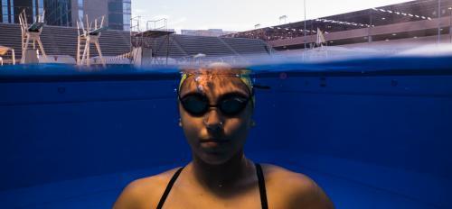 ASU swimmer under water