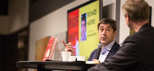 National Public Radio science correspondent and author Richard Harris speaks at a bookstore