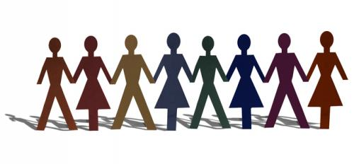different colored human stick figures holding hands