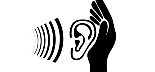 drawing of soundwaves going into an ear