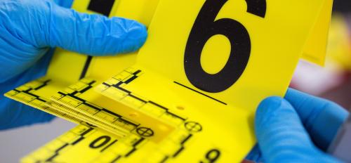 close-up of crime scene markers