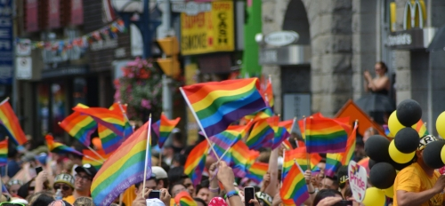 people marching down a street waving rainbow flags