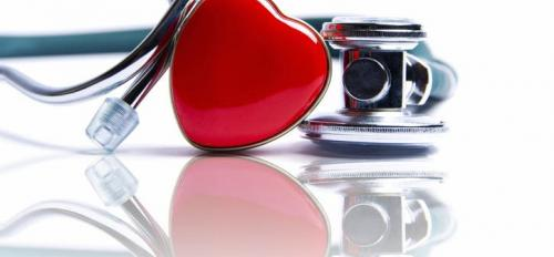 stethoscope and heart pin