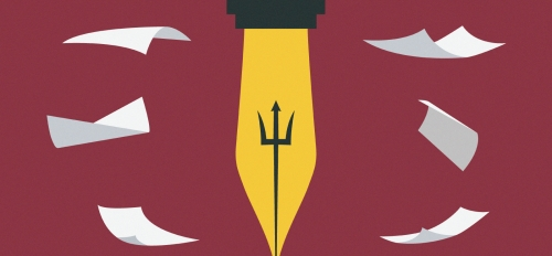 illustration of the tip of a pen featuring an ASU Pitchfork with pages floating around in the background
