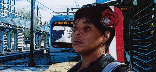 collage showing Black woman standing at train stop with a photo of Harriet Tubman superimposed on the train's window