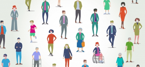 cartoon drawing of people of varying abilities and disabilities wearing face masks