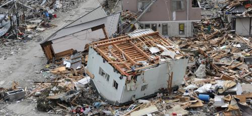 Damage from the 2011 earthquake and tsunami in Japan.