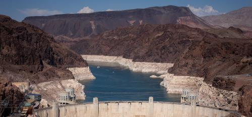 Lake Mead with Hoover Dam in the foreground.
