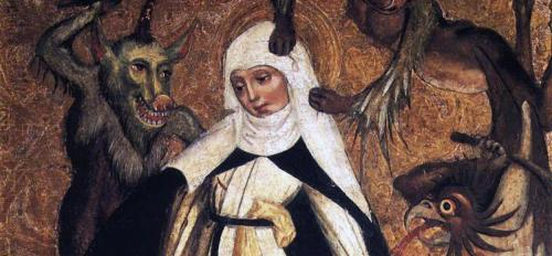 medieval painting of religious person with demons