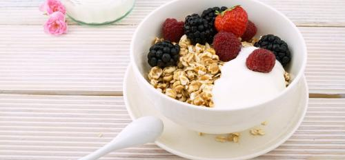 oatmeal, yogurt and fruit
