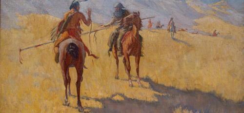 A painting of people on horses.