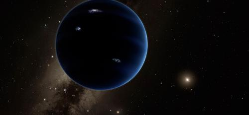 An artist rendering of a theoretical new planet in our solar system.