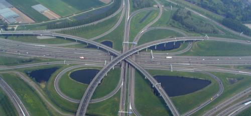 A confluence of concrete lanes.