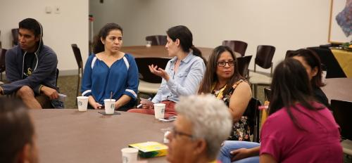 Migrant farmworker parents learn about the college application process