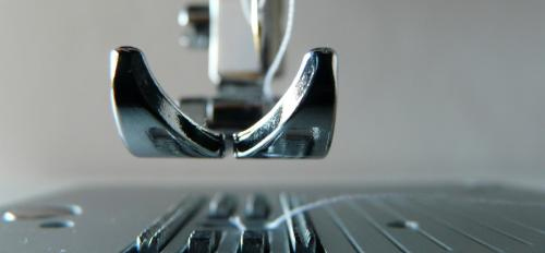 Closeup of a sewing machine foot