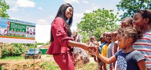 ASU Rhodes Scholar Shantel Marekera works with young children
