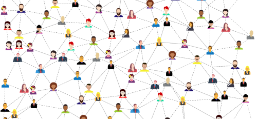 illustration of many different kinds of people connected by dotted lines