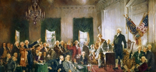 painting of founding fathers talking