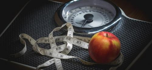 Scale, apple, measuring tape