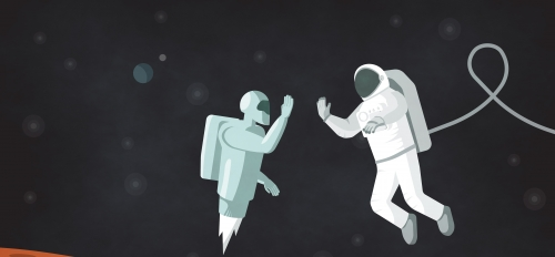 Robot and astronaut meeting in space illustration