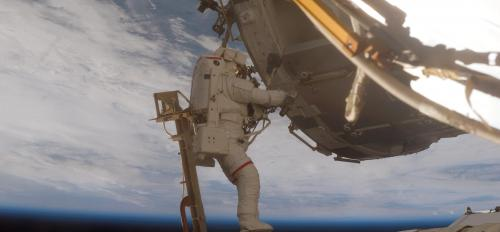 Astronaut Scott Parazynski on a spacewalk.