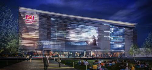 artist rendering of new building with digital screen on the outside