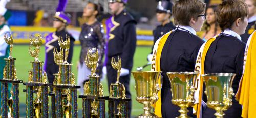 Trophies at ASU Band Day