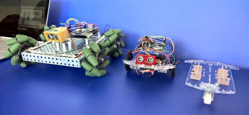 lineup of robots on a table