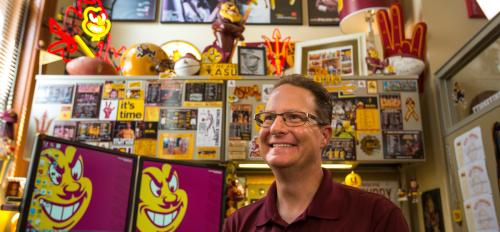 ASU superfan in his office