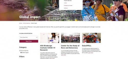 ASU Foundation website screenshot of donor funds available
