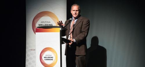 Joshua LaBaer speaks onstage at the launch of the AZ Wellness Commons