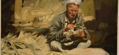 """""""Basket Maker,"""" oil on canvas"""
