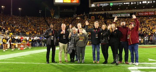 Family members of the Butterfield, Kent and Furst family are recognized at Sun Devil Stadium