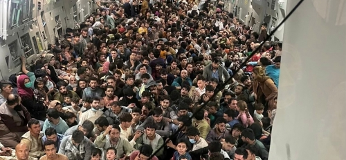 US C-17 Packed With 640 Afghans