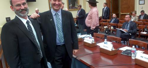 ASU professors Phil Christensen and Jim Bell at Congressional committee hearing