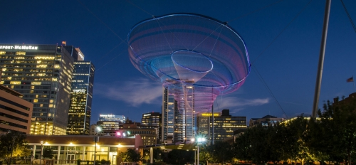 Nighttime shot of Civic Space Park in downtown Phoenix