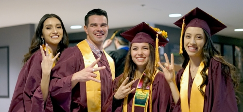 Watts College graduates celebrate their achievement at the college's fall 2019 convocation in downtown Phoenix.