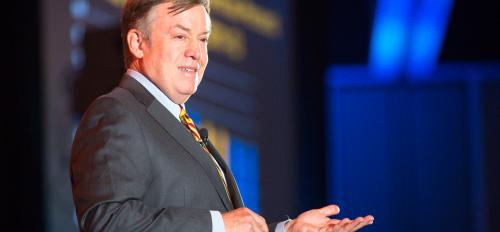 ASU President Michael Crow speaks at the DATOS event
