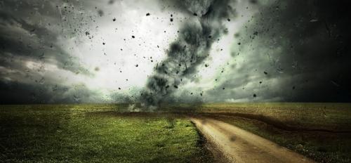 cyclone over farm land