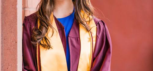 Picture of Daniela Rios in ASU cap and gound.