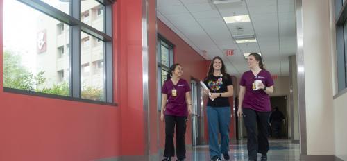 ASU nursing students walk with Phoenix Children's DEU nurse preceptor