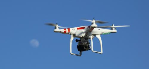 A drone with a GoPro camera mounted underneath.