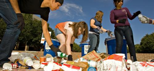 ASU students sort recyclables